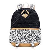 LissomPlume Canvas Schulrucksack Schultertasche Taschen Reisetasche Laptoprucksäcke Umhängetasche - Blume schwarz