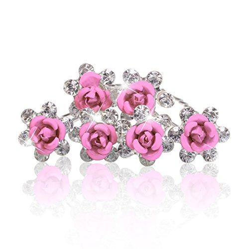 Autiga Haarnadeln Blume Rose Strass Blüte Kristalle Hochzeit Braut Haarschmuck Blumenhaarnadel Kommunion Haarpins Duttnadeln rosa 6er Set