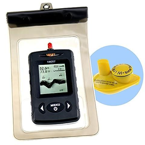 Wireless Waterproof Portable Fish Finder with Dot Matrix (Black -English)