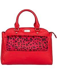 Klasse Women's Stylish Leather Animal Print Top Handle Bag