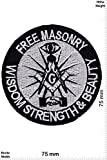 Patch-Iron-Freimaurer - Free Masonry - Wisdom Strenght & Beauty - - Spirit - - Iron On Patches - Aufnäher Embleme Bügelbild Aufbügler