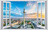 Berlin Stadt Skyline City Wandtattoo Wandsticker Wandaufkleber F0278 Größe 60 cm x 90 cm