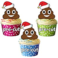 AK Giftshop PRE-CUT Christmas Emoji Poop/Poo - Edible Cupcake Toppers/Cake Decorations (Pack of 12)