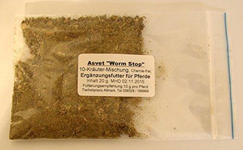50g Asvet Worm Stop, Kräuter für 5 Pferde zur EINMALGABE, keine chemische Wurmkur, kein Gift