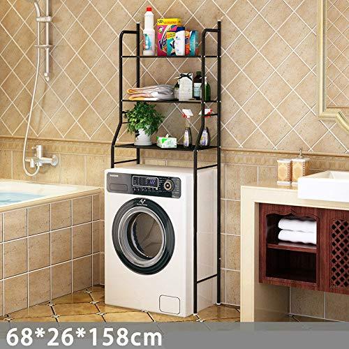 Regal WC-Regal Bad dreistufiges Regal Bad Bad Finishing Rack Waschmaschinenregal schwarz Waschmaschinenregal 68x26x158cm