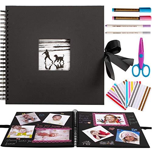 bitFire Jumbo Fotoalbum Fine Art DIY (32 x 32 cm, 60 Schwarze Seiten, Fotobuch mit Ausschnitt für Bildeinschub) Album schwarz