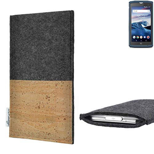 flat.design vegane Handy Hülle Evora für Crosscall Core-X3 Kartenfach Kork Schutz Tasche handgemacht fair vegan