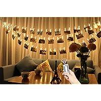 LED Foto Clips Lichterkette,YTE 5M 40 Photo Clips Batteriebetriebene Stimmungsbeleuchtung Fernbedienung Dimmbare Foto-Display Starry Lampe mit 8 Modi für Hängendes Foto Memos Kunstwerke