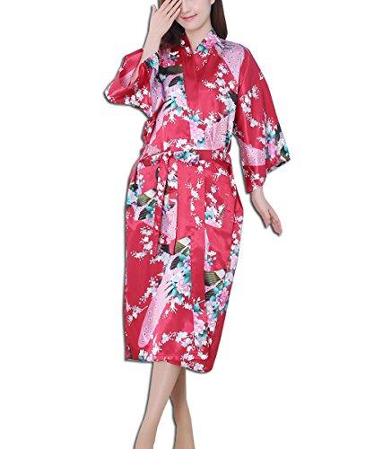 KAXIDY Robe de Nuit Robe de Chambre Femme Vêtements de Nuit et Peignoirs Pyjama Peignoir Rouge
