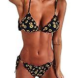 UOMOGO Costume da Bagno,Set Bikini da Donne, Push Up Bikini con Stampa Girasole Donne Increspatura Cravatta Costumi da Bagno Estivi Eleganti Estate Vintage (S, Nero)