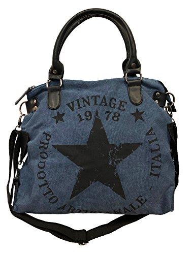 Star Bag Vintage Stern Damen Stamp Tasche Fashion Shopper Henkeltasche Canvas Stoff (Blau) - Star Canvas-tasche