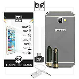 TheGiftKart™ Combo for Samsung Galaxy On Nxt (Combo of 1 Back Cover + 1 Tempered Glass + 1 OTG Adapter + 1 Audio Splitter) - TheGiftKart™ ULTRA Premium Luxury Metal Bumper Acrylic Mirror Back Cover (Graphite Grey) + Premium HD Tempered Glass Screen Protector With Rounded Edges + OTG Adapter + Audio Splitter