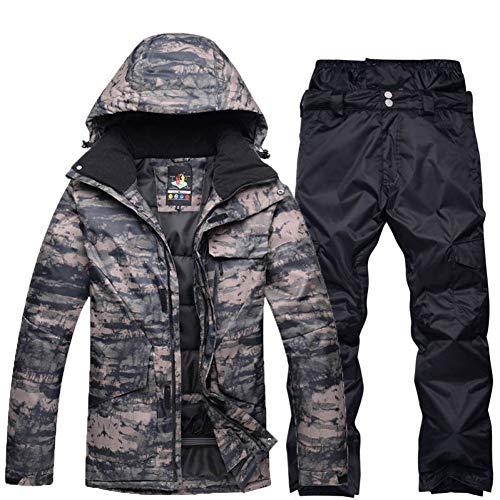 KUNHAN Skibekleidung für Herren Plus Size Jacke Und Hose Herren Schneeanzug Outdoor-Sport Spezielle Snowboard-Sets Winddicht Wasserdicht Skibekleidung Camouflage