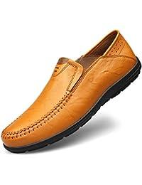 Shenn Hombres Plano Ponerse Clásico Casual Boda Cuero Mocasines Zapatos