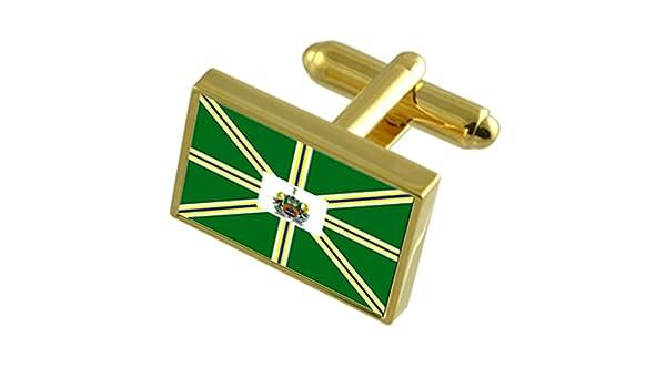 Pocos de Caldas City Minas Gerais State Flag Cufflinks Tie Clip Box Gift Set
