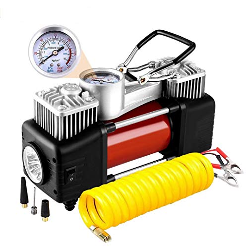 YLWB Luftkompressor, Reifen-Pumpe tragbare 12V 300 PSI Auto Meter Reifen mit Preset Pressure Auto Shut Off Gauge,Mit LED-Licht Tragbare 12V