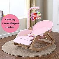 Baby Wood Cradle Baby Rocking Chair Tranquilizar Silla Niños Tumbona Rosa. (Color : C)