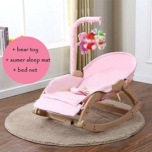ZJM-Deckchairs Baby Holz Wiege Baby Schaukelstuhl Beruhigen Stuhl Kinder Liegestuhl Rosa. (Farbe : C)