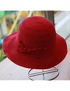 LVLIDAN Sombrero para el sol del verano Lady Anti-Sol Playa pescador sombrero de paja plegable rojo