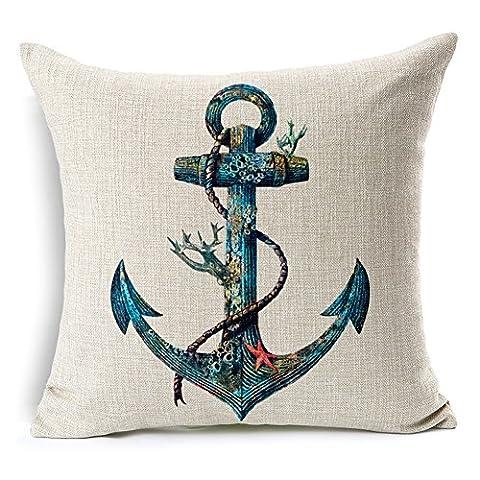 Poens Dream Housse de Coussin, Marine Nautical Art Printed Cotton Linen Decorative Pillow Cushion Cover, 17.7 x 17.7inches
