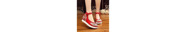 KHSKX-Zapatos De Tela Bordada Pendiente Con Inner Aumento De Zapatos De Mujer Zapatos De TelaRojoLos Raptors De... -
