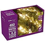 BRITE IDEAS FESTIVE WHITE & WARM WHITE LED CLUSTER LIGHTS CHRISTMAS TREE LAMP XMAS OUTDOOR INDOOR (480 LED)