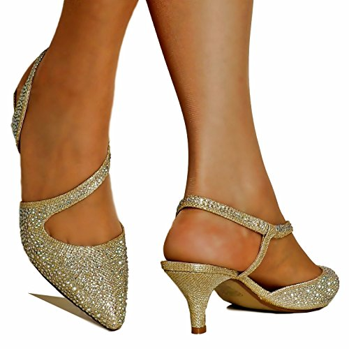 Rock on Styles New Ladies Gold Silver Party Prom Bridal Sparkly Diamante Ankle Straps Low Mid Kitten Heel Court Shoes Sandals- 007 (UK 7/EU 40, Gold)