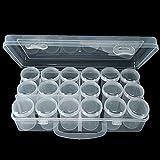 RERI Plastik Aufbewahrungsbox Sortierbox Sortimentskasten (18 Raster) Kleiner Zylinder, für Snaps Drückknöpfe Schmuckschatulle Werkzeugcontainer(1)