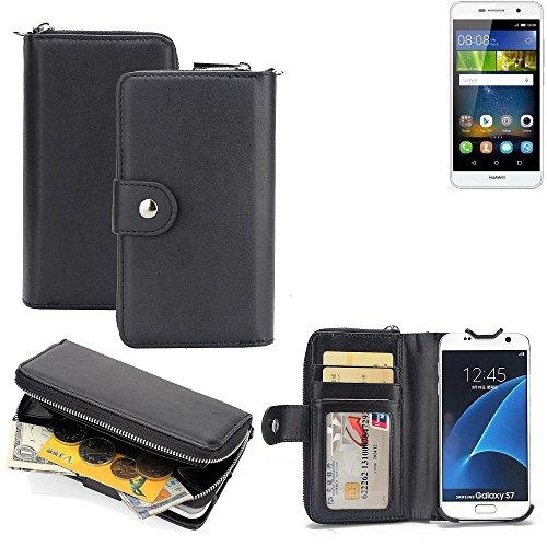 K-S-Trade 2in1 Handyhülle für Huawei Y6Pro LTE hochwertige Schutzhülle & Portemonnee Tasche Handytasche Etui Geldbörse Wallet Case Hülle schwarz