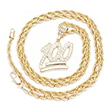 Herren New Emoji-100 Iced Out Anhänger Diamond Cut Seil vergoldet Kette Halskette