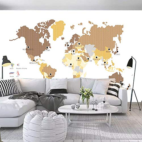 L22LW Wandbild Antike Karte Der Welt Riesige Corporate Office Wohnzimmer Hintergrund Tapete Mit Grünen Wandbild Tapeten Dekoriert, 300 Cm * 240 Cm (H) (Der Corporate-karte)