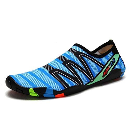 XIGUAFR Chaussure de Plage de Piscine pour Homme Femme Chausson de Sport Aquatique de Yoga de Ballet à Séchage Rapide Confort Bleu 38