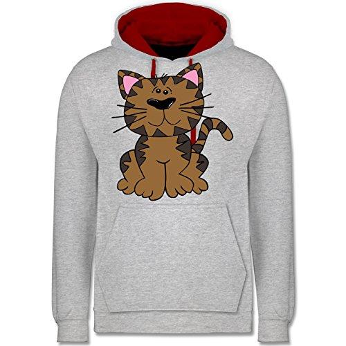 Katzen - Katze bunt - Kontrast Hoodie Grau Meliert/Rot