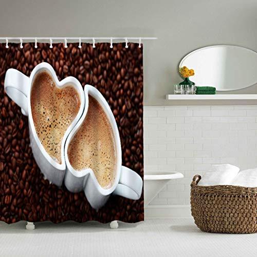 YLXINGMU Großer Duschvorhang Wasserdicht Und Geschmacksneutral Umweltfreundlich Paar Kaffeetasse...
