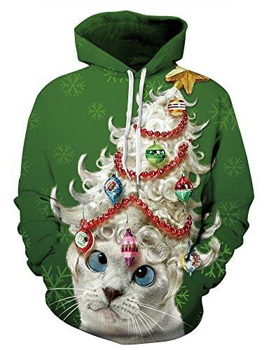 Unisex 3D Digital Druck Bunte Kapuzenpullover Hoodie Langarm Damen Und Herren Cartoon Weihnachten Halloween Sweatshirt Pullover (L / XL (Brustumfang: 112-132CM), Weihnachten (Einfach Paare Für Halloween Kostüme)