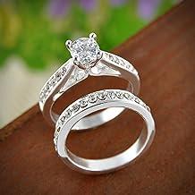 Erawan 2pcs Mujer Gemstone chapado en oro blanco anillo de compromiso de tamaño 6 – 9