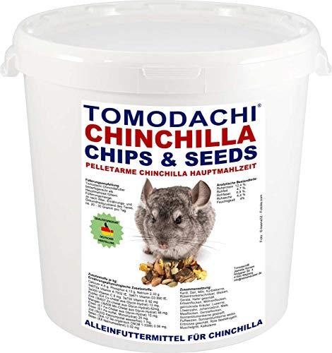 Tomodachi Chinchillafutter, wenig Pellets, viel Gemüse, Komplettnahrung für Chinchilla, leckere, artgerechte, ausgewogene Futtermischung für Chinchilla, Chinchillafutter, Chinchillanahrung 2kg Eimer -