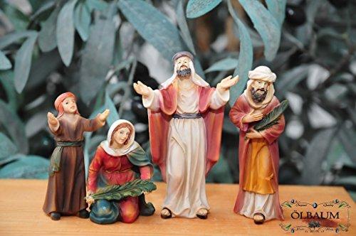 Krippenfiguren Krippenzubehör - Zusatz-Beleuchtung* 4-tlg.Zusatzfiguren-Set, Jubelndes Volk heißt Jesus den König der Juden willkommen Mk 11,1-11,- Passion Christi - für 9-10 cm Figuren, Figur-Krippenfiguren für Passionskrippe und Weihnachtskrippe - hochwertige ÖLBAUM-Passionsfiguren: 40 einzigartige Stationen, Fastenzeit von Aschermittwoch bis Ostern Deko, Auferstehung Jesus von Nazareth (Licht Bis Jesus Bild)