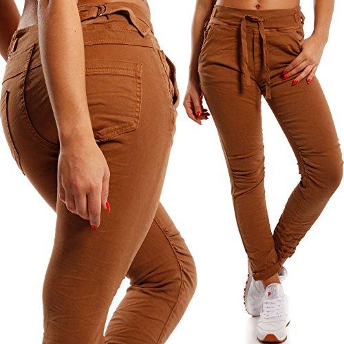 Damen Boyfriend Hose Jogger Style Freizeithose High Waist Camel