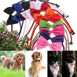 Cravate pr chien chat animaux col noeud papillon réglable Collier décor rose rouge