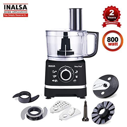 Inalsa Food Processor Easy Prep-800W with Break Resistant Processing Bowl & 7 Accessories| Centrifugal & Citrus Juicer, (Black)