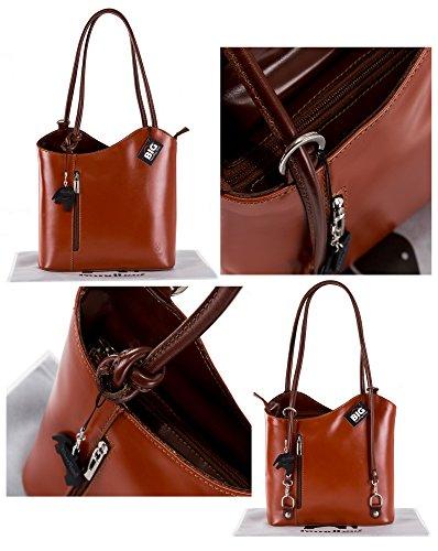 BHBS Femmes Véritable cuir italien Unique exploitation d'épaule ou sac à dos sac à main 31x28x8 cm (LxHxP) Orange & Brun