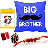 "Printelligent Rakhi Gift For Brother""Big Brother"" Rakhi Themed Combo Of Cushion Cover & Greeting Card Gift"
