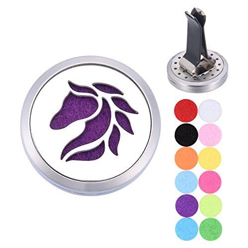 Aromatherapie ätherisches Öl Diffusor Vent Clip Auto-Lufterfrischer/weiß K Edelstahl/Pferd/rund/offene Magnetverschluss Schloss Anhänger 30mm
