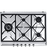 Smeg SRV575GH5 hobs Acero inoxidable Integrado Encimera de gas - Placa (Acero inoxidable, Integrado, Encimera de gas, Acero inoxidable, 1100 W, Alrededor)
