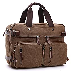 Zysy 3-in-1 Canvas Messenger Backpack Laptop Messenger Bags Shoulder Backpack Men's Briefcase Women's Handbags Sports Outdoors Travel Bags Fits To 14 Inch Tablet Notebook (Brown)
