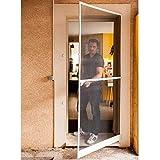 Werkapro 10763 Porte moustiquaire 215x100cm Cadre alu, Blanc Et Noir