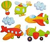 Unbekannt 7 TLG. Set 3-D ! - Wandtattoo / Fensterbild - Helikopter Flugzeug Raumschiff - mit Glitzer - Flugzeuge - Wolken - Pappsticker - 3D Effekt - Hubschrauber