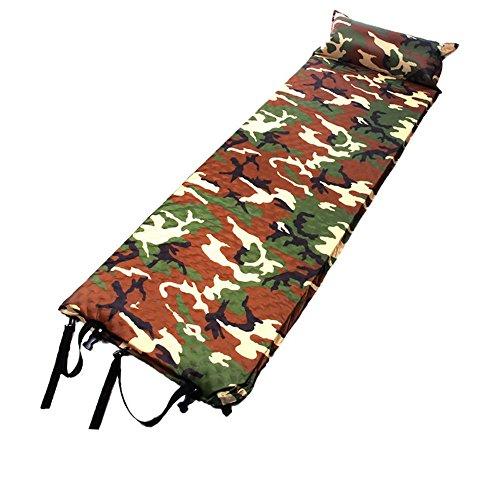 Estera de la manta de la playa Almohadilla para dormir inflable con almohada fija, ligera, impermeable, autoinflable y almohadilla de colchón compacta para acampar en color camuflaje Mantas de picnic