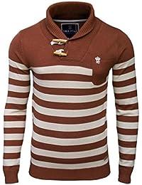 SoulStar - Pull pour homme col châle à rayures mode tricot couleur rouille